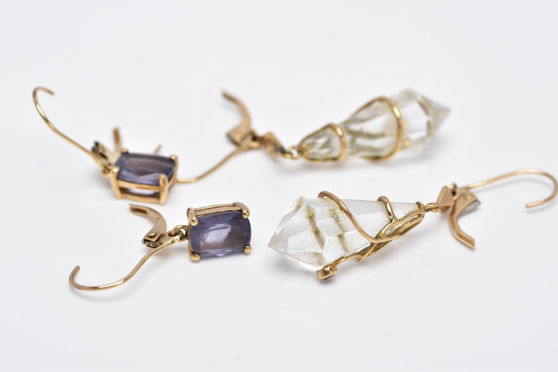 TWO PAIRS OF YELLOW METAL GEMSET DROP EARRINGS, the first pair suspending claw set, oval cut - Image 4 of 4