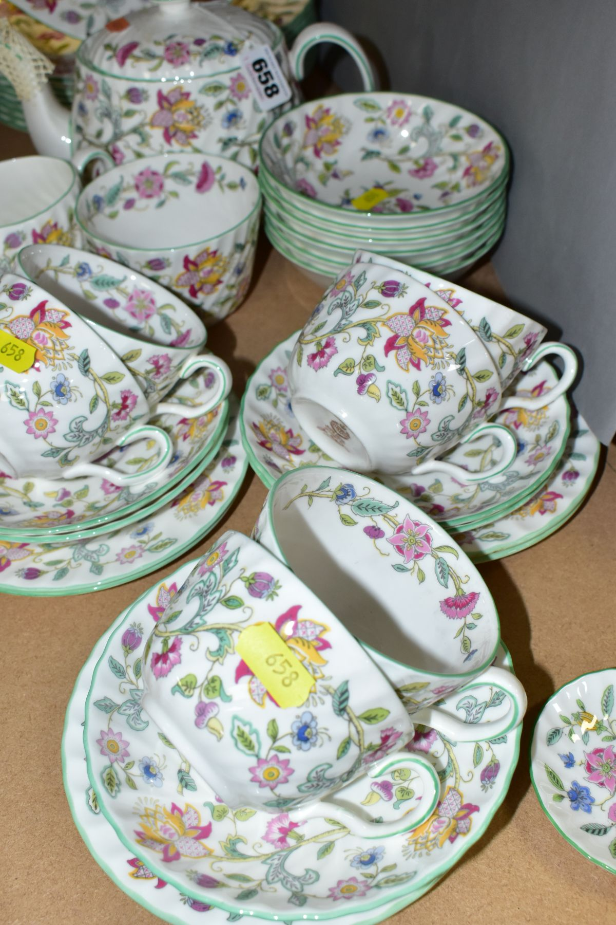 A MINTON 'HADDON HALL' PATTERN PART DINNER SERVICE, ETC, comprising teapot and cover, milk jug, - Image 5 of 6