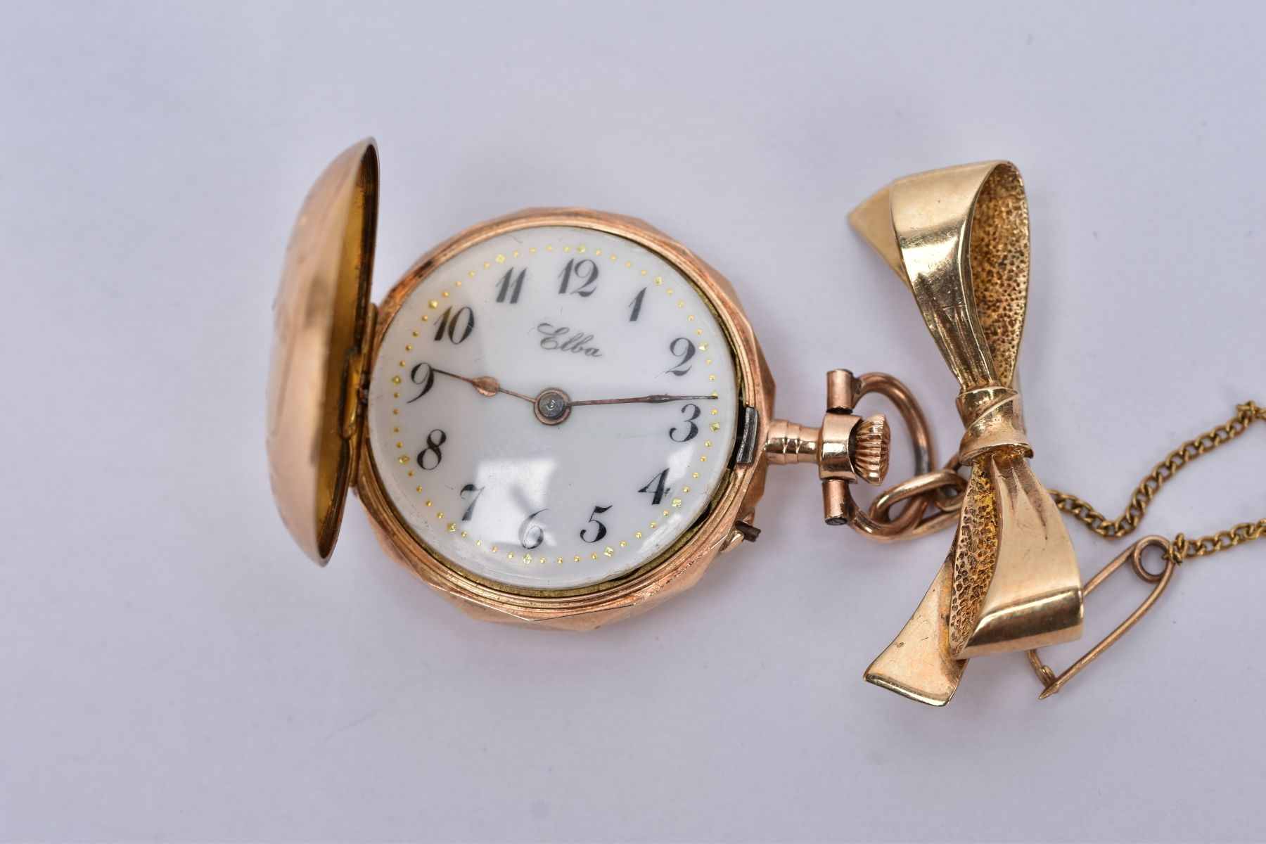 AN EARLY 20TH CENTURY GOLD AND DIAMOND LADY'S FOB WATCH, white enamel dial signed 'Elba', case - Image 3 of 5