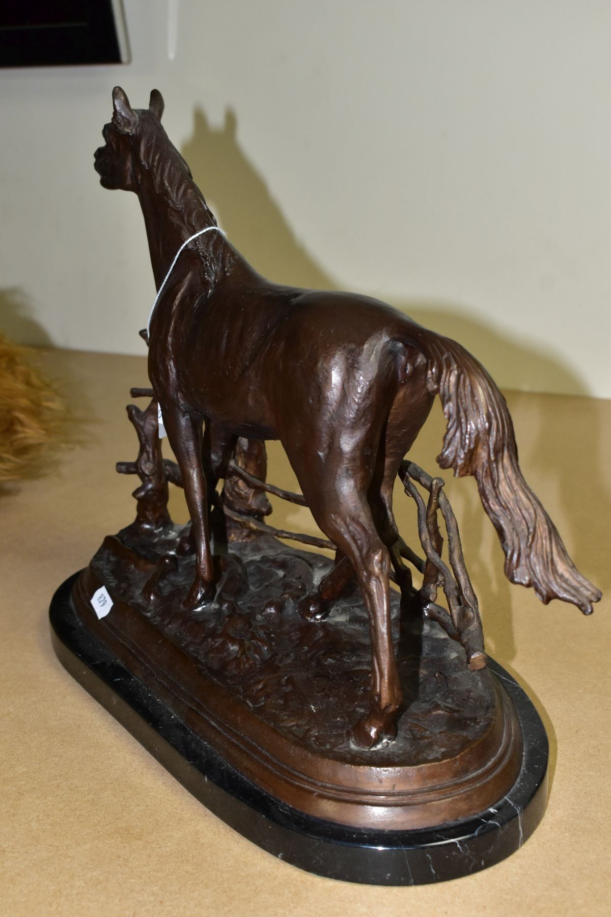 AFTER PIERRE JULES MENE 'A LA BARRIERE' a bronze sculpture of a horse beside a fence, bears a - Image 3 of 7