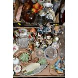 TWO BOXES CERAMICS, GLASS, METALWARES, ETC, to include Wade trinkets, various soldier figures, a