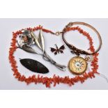 A BAG OF ASSORTED JEWELLERY, to include a ladies half hunter pocket watch, white dial, roman