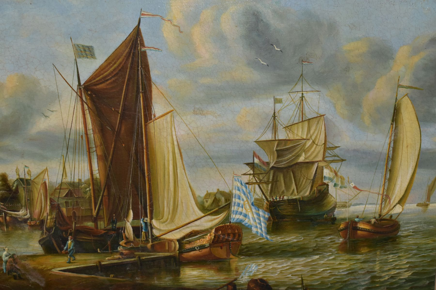 A MODERN 17TH CENTURY VIEW OF A DUTCH MARITIME SCENE after the original by Abraham Storck, unsigned, - Image 2 of 4