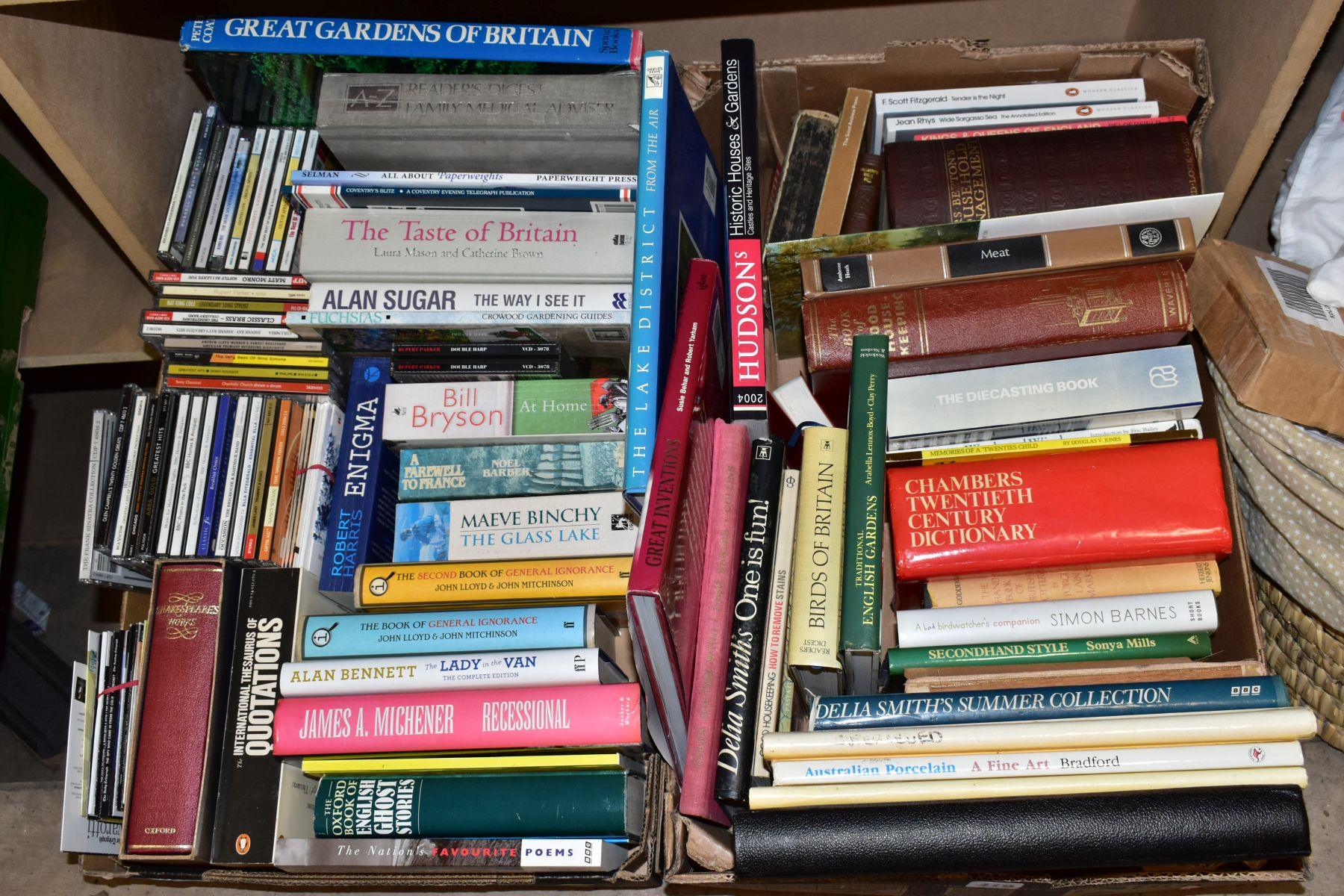 TWO BOXES OF BOOKS AND CDS including cookery interest, gardening interest, novels, etc, Ward