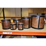 SIX BENTWOOD CORN MEASURES WITH IRON BANDING, sizes are half bushell, peck, gallon (x2) and quart (