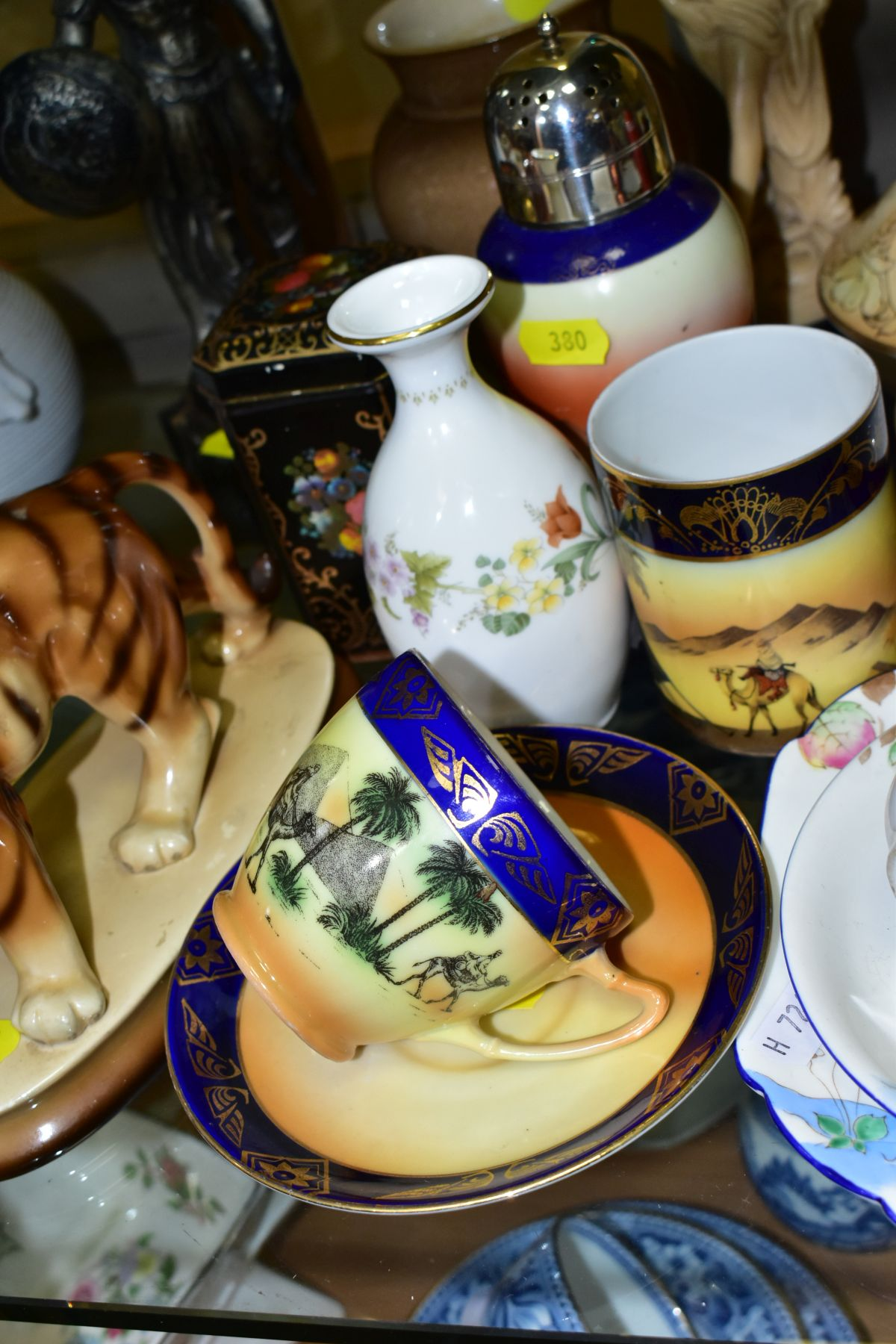 A GROUP OF CERAMICS, TINS etc, to include Royal Doulton figure 'Top O'the Hill' HN1834, Shelley - Image 4 of 11