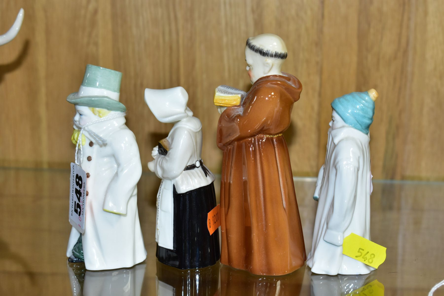FOUR ROYAL WORCESTER CANDLE SNUFFERS, 'Budge', 'Toddie', a nun and a monk (cracked), tallest - Image 4 of 6