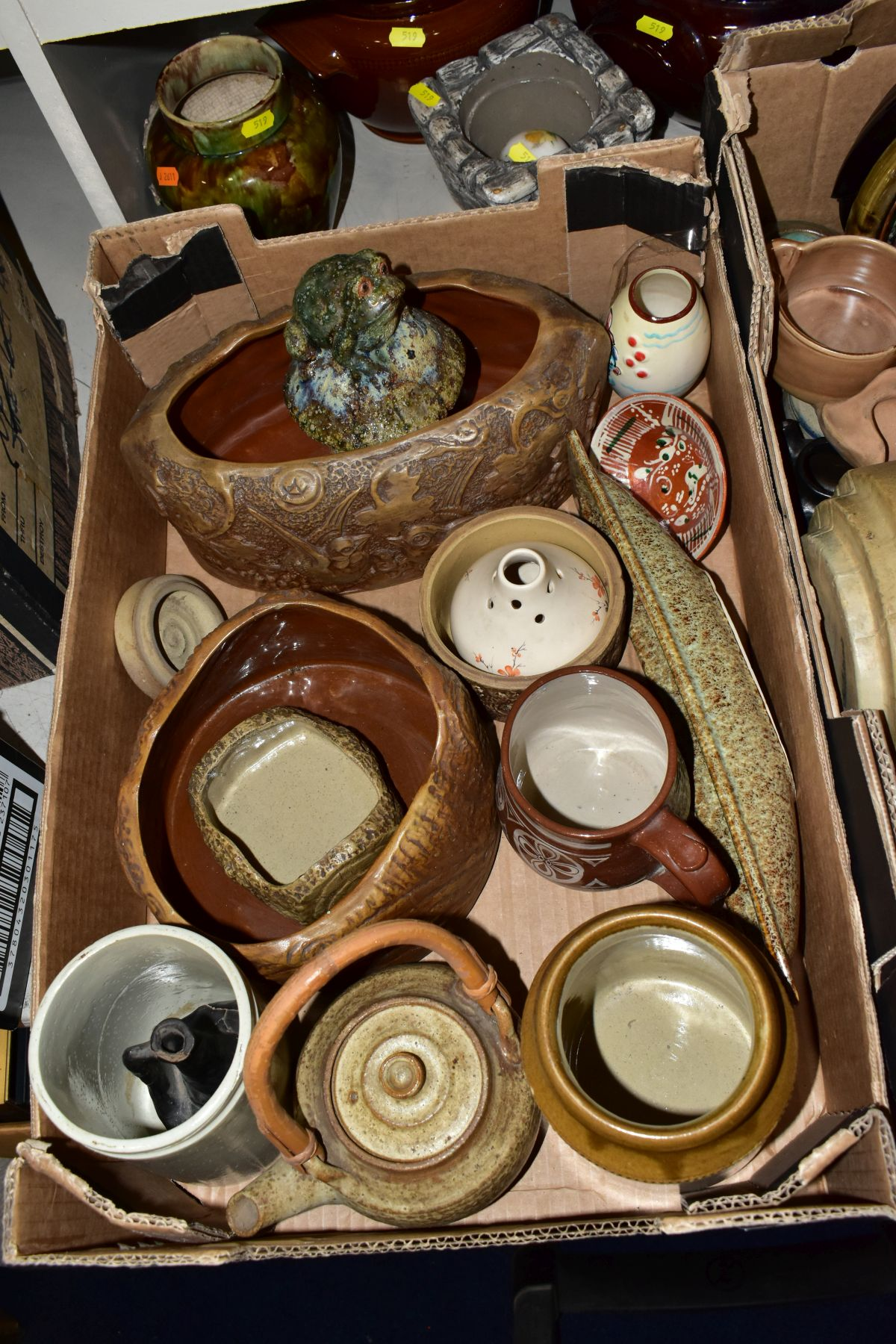 TWO BOXES AND LOOSE STONEWARE etc, including Hillstonia, Studio pottery, stoneware jugs and flagons, - Image 3 of 8