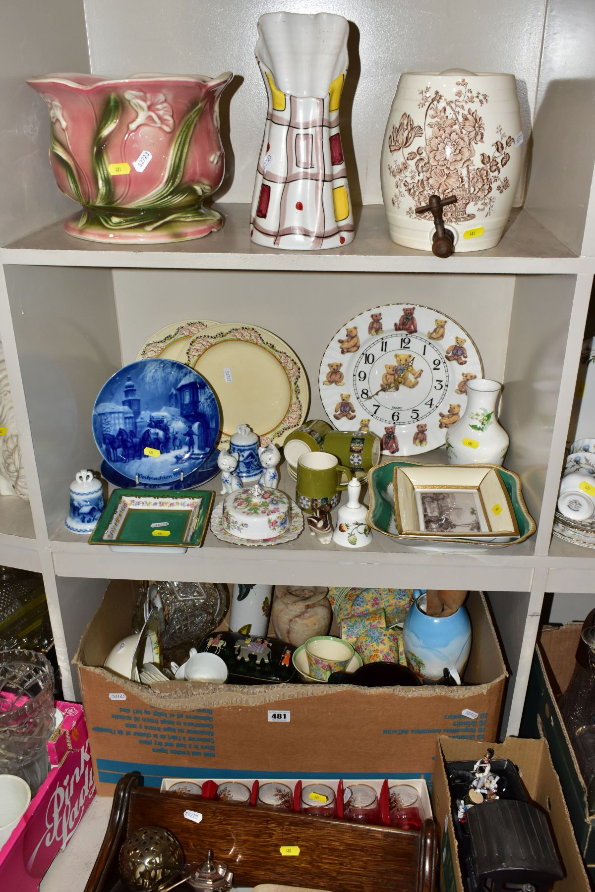 TWO BOXES OF CERAMICS AND SUNDRY ITEMS etc to include three Carlton Ware 2710 tapestry and daisy