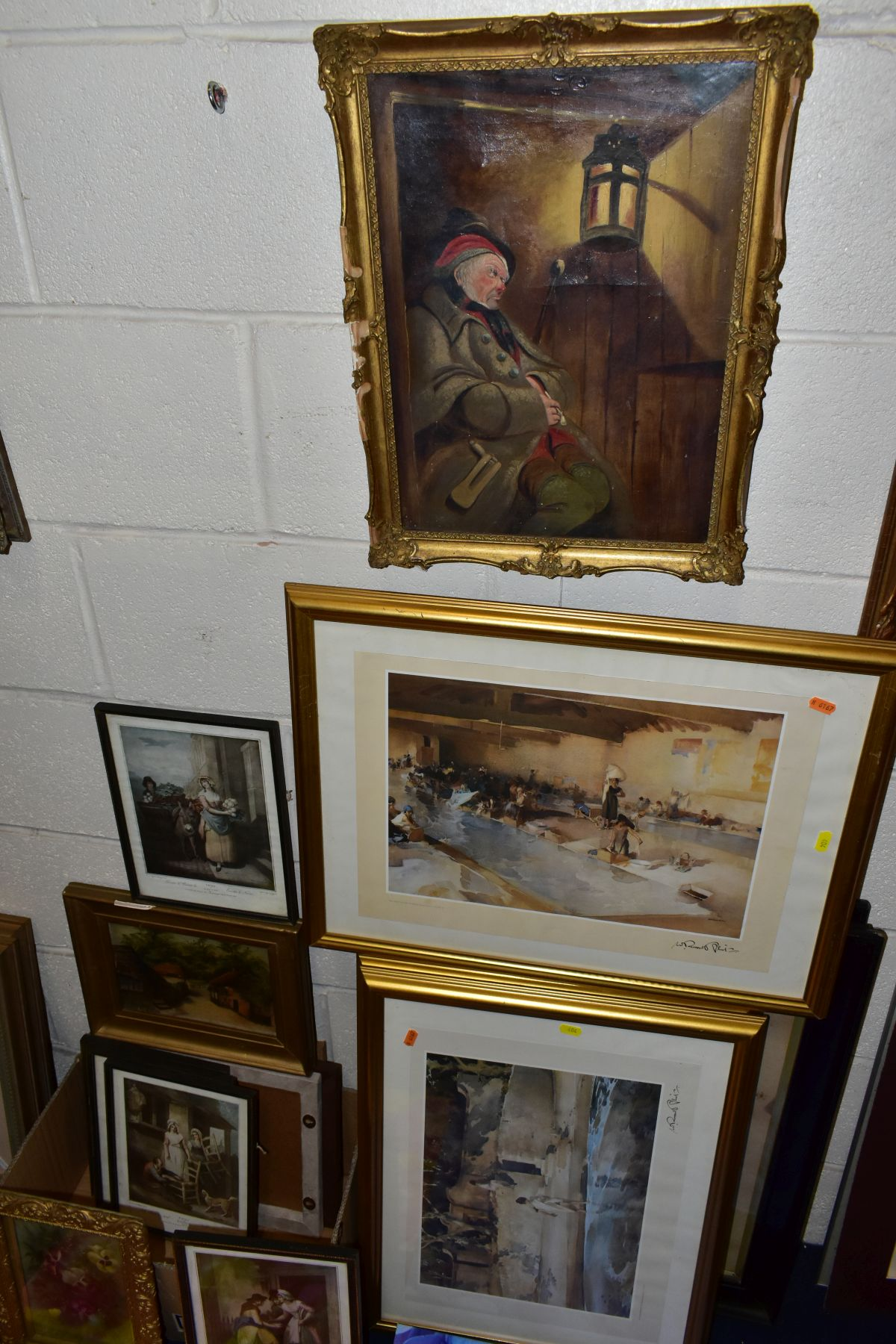 PAINTINGS AND PRINTS, ETC, to include an unsigned oil on canvas depicting a sleeping night watchman,