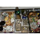 TWO BOXES AND LOOSE OF CERAMICS, GLASS AND METALWARE, including a Chinese Famille rose bowl,(chip