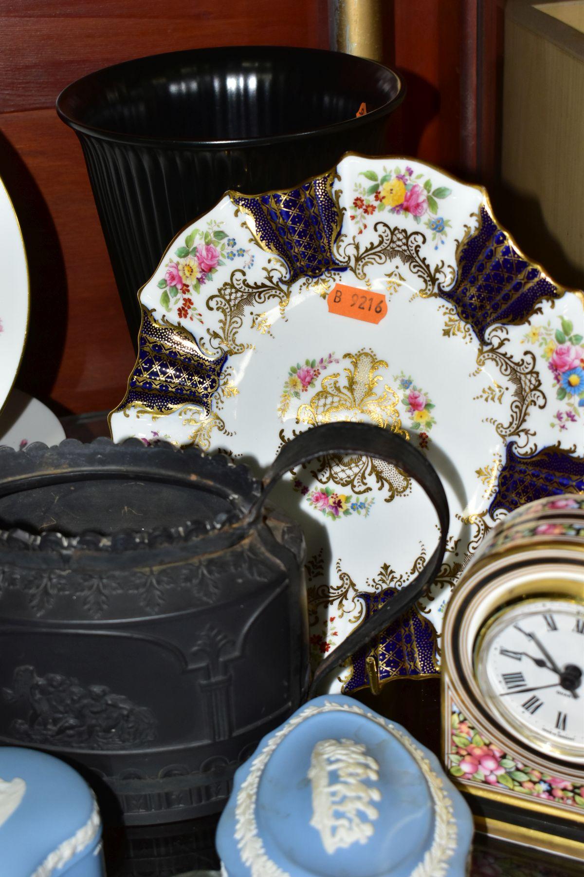 CERAMICS to include blue jasper ware trinkets, etc, Wedgwood Clio clock, black basalt teapot with - Image 6 of 8