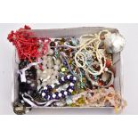 A TRAY OF ASSORTED SEMI-PRECIOUS JEWELLERY, to include a multi stranded red coral branch/polished