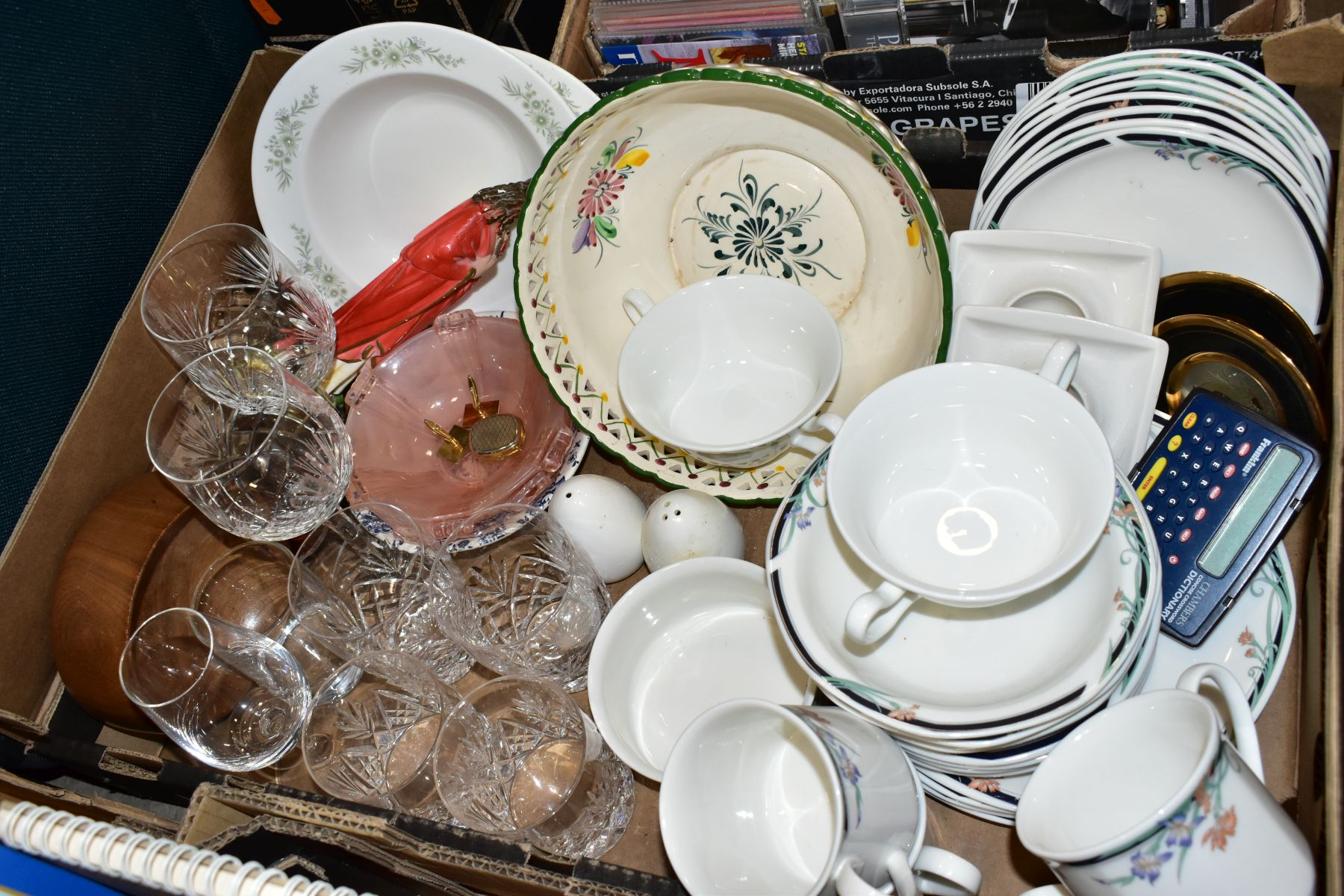 THREE BOXES AND LOOSE CERAMICS, GLASS, BOOKS, CD'S, A SUITCASE, ETC, including Royal Doulton Juno - Image 5 of 10