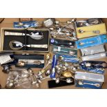 A BOX OF ASSORTED SILVER AND WHITE METAL COLLECTABLE TEASPOONS AND OTHER ITEMS, to include six