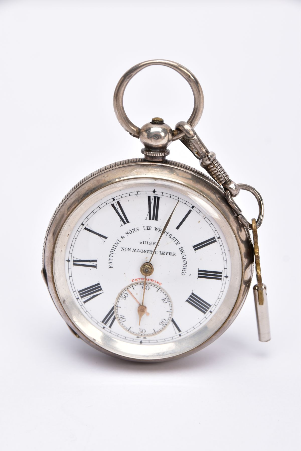AN EARLY GEORGE V OPEN FACED SILVER POCKET WATCH, white dial signed 'Fattorini & Sons Ltd, Westgate,