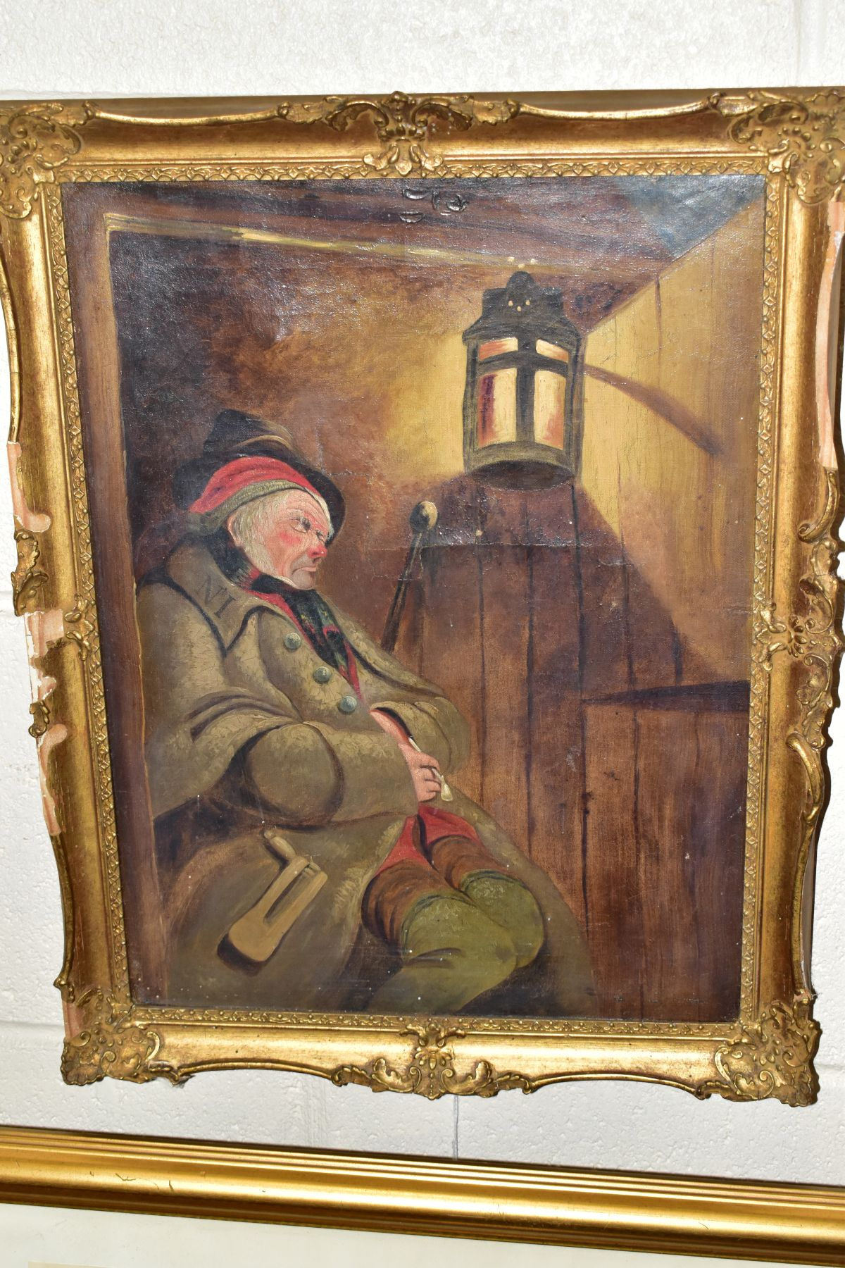 PAINTINGS AND PRINTS, ETC, to include an unsigned oil on canvas depicting a sleeping night watchman, - Image 2 of 7