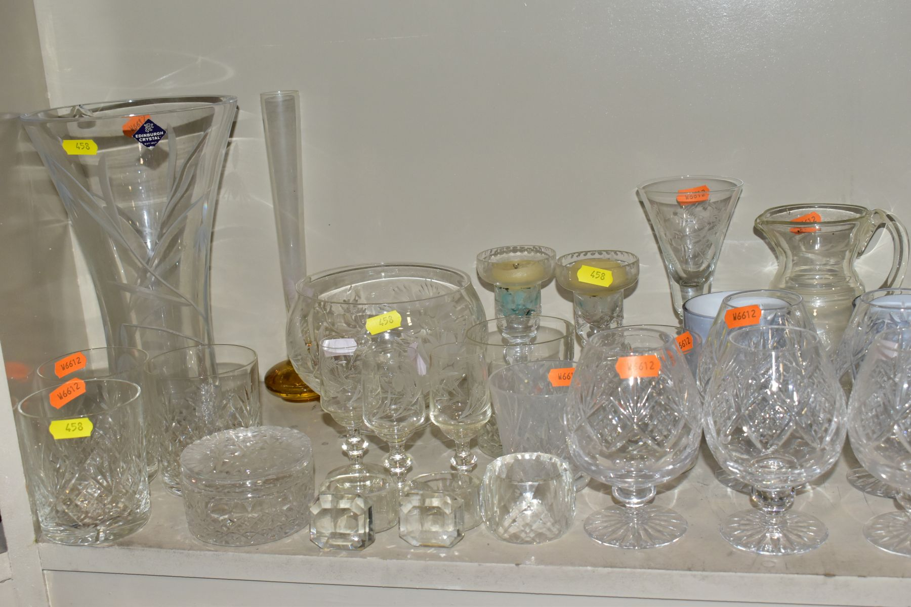 A SMALL QUANTITY OF CLEAR AND COLOURED GLASSWARE, including an Edinburgh Crystal vase, height 25. - Image 3 of 10