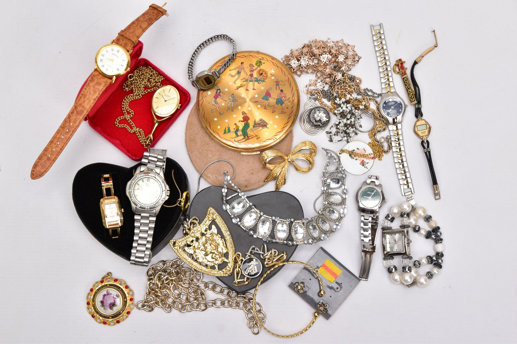A BOX OF ASSORTED ITEMS, to include costume jewellery such as yellow and white metal necklaces,