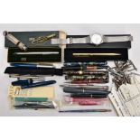 A BOX OF ASSORTED FOUNTAIN AND BALL POINT PENS A 'CITIZEN' WRISTWATCH ETC, to include a boxed 'Cross