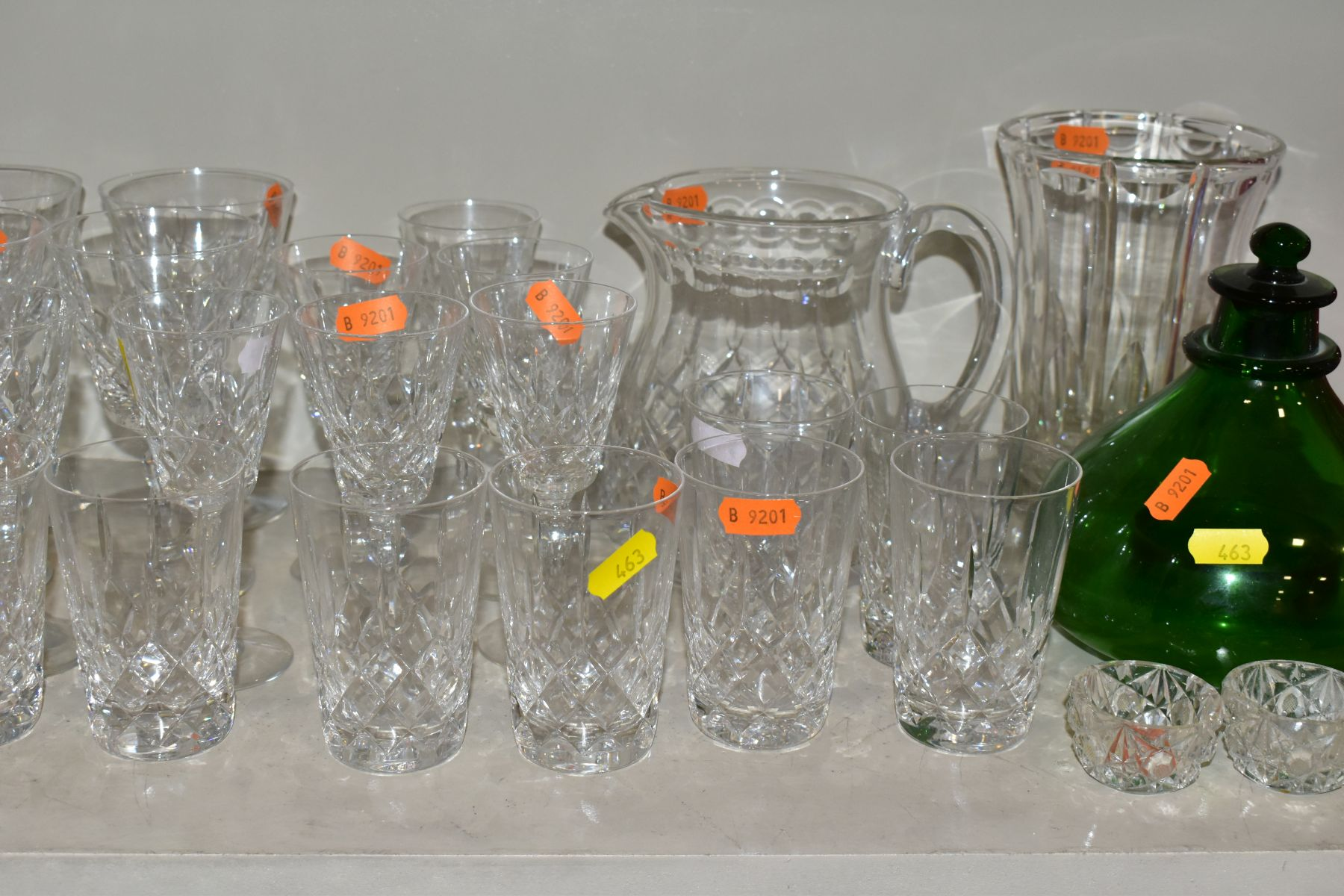 A GROUP OF CUT/COLOURED GLASSWARES, etc, to include a pair of Waterford crystal wines, a Stuart - Image 3 of 13