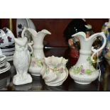 BELLEEK PORCLEAIN comprising a near pair of Aberdeen pitcher shaped vases, pink rose and shamrock