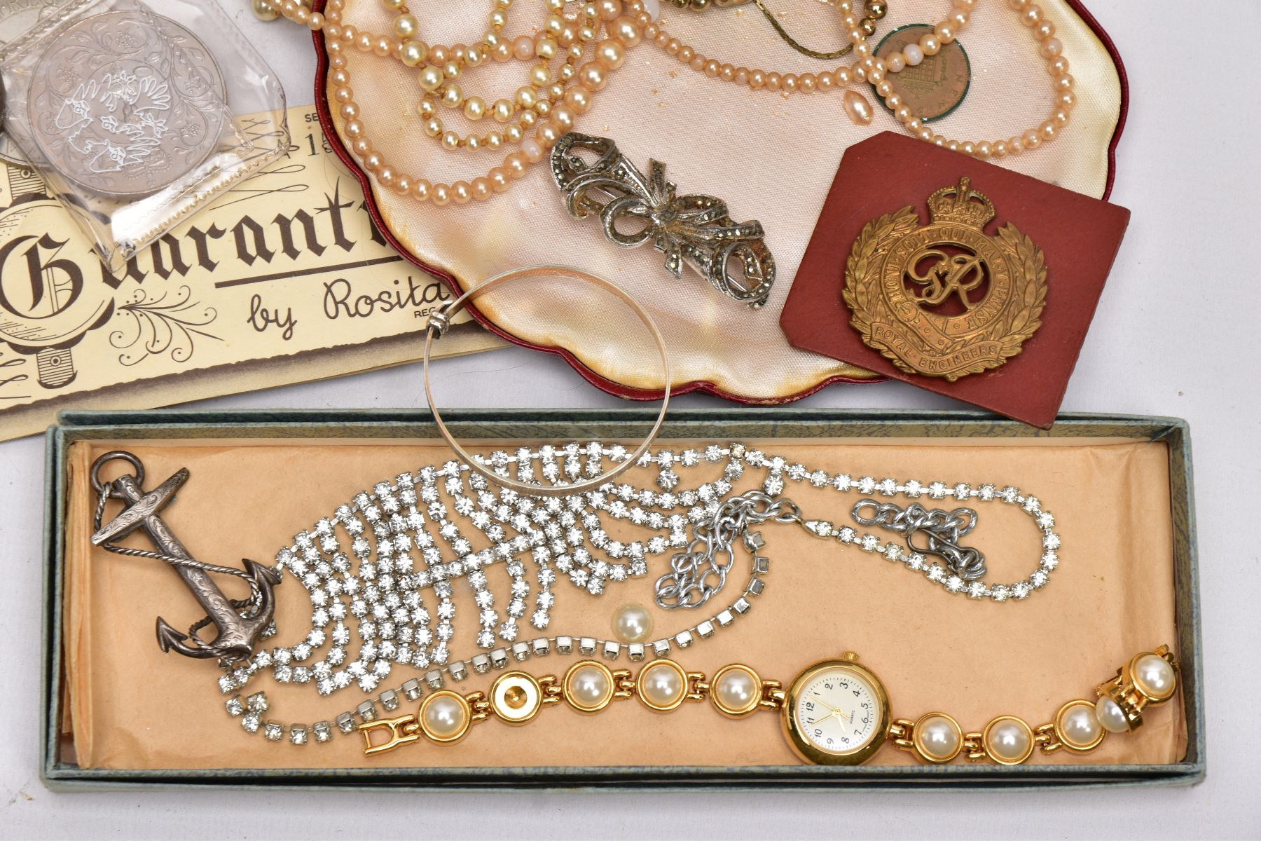 A BOX OF ASSORTED ITEMS, to include a mid-19th Century silver brooch in the form of an anchor and - Image 2 of 3