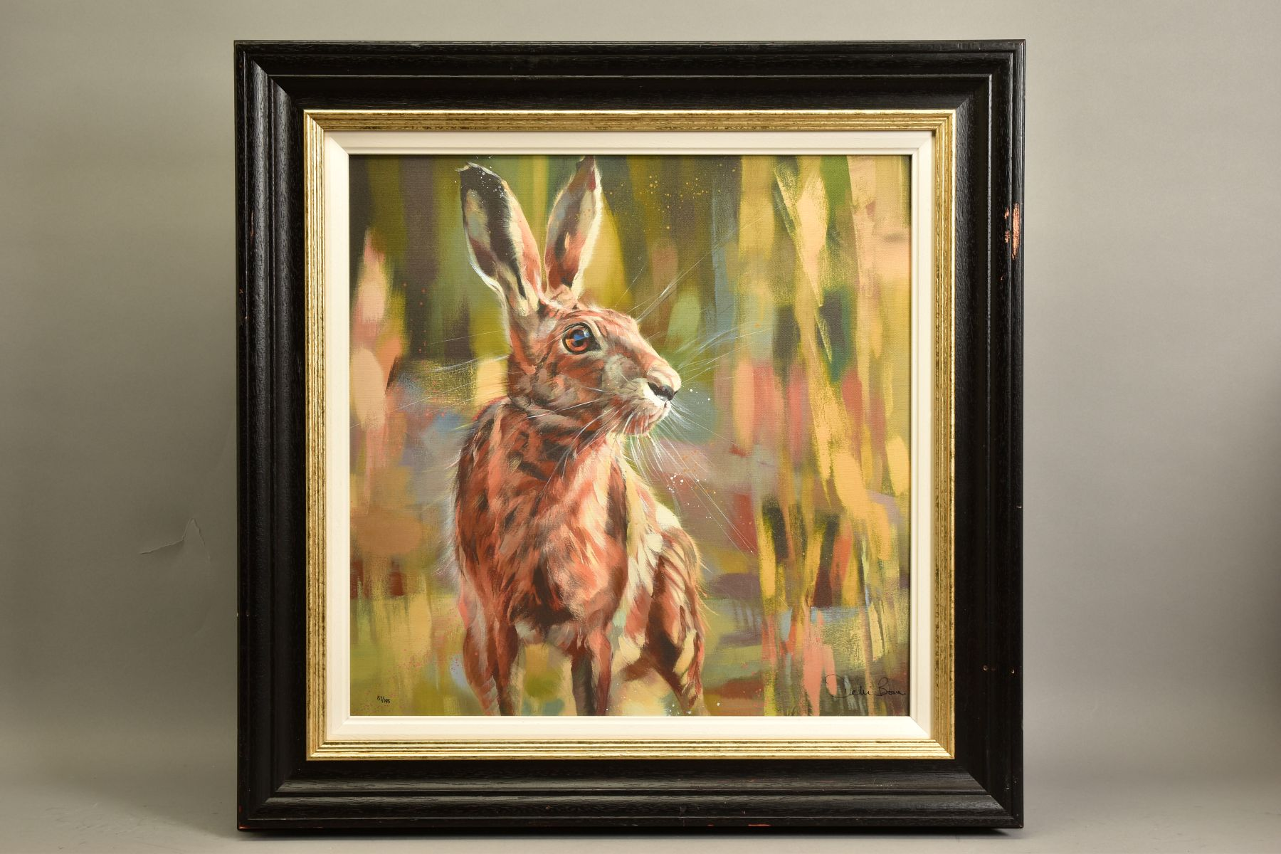 DEBBIE BOON (BRITISH CONTEMPORARY) 'POISED FOR ACTION' a limited edition print of Hare 57/195,
