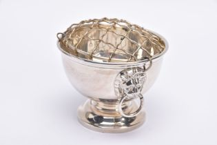 A SILVER ROSE BOWL, plain polished design, double lion head ring handles, on a circular base,