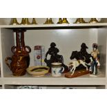 NINE ORNAMENT AND POTTERY ITEMS, to include a porcelain soldier, with pseudo gold anchor to base,