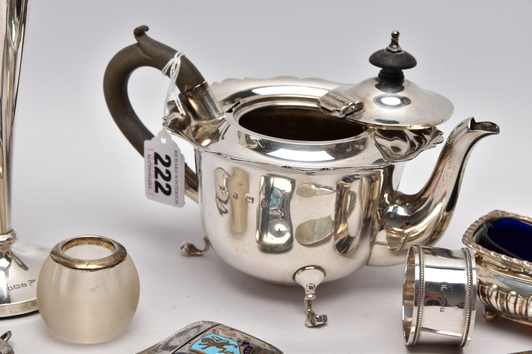 A SELECTION OF SILVER AND WHITE METAL ITEMS, to include an early 20th century AF silver teapot, wavy - Image 6 of 7