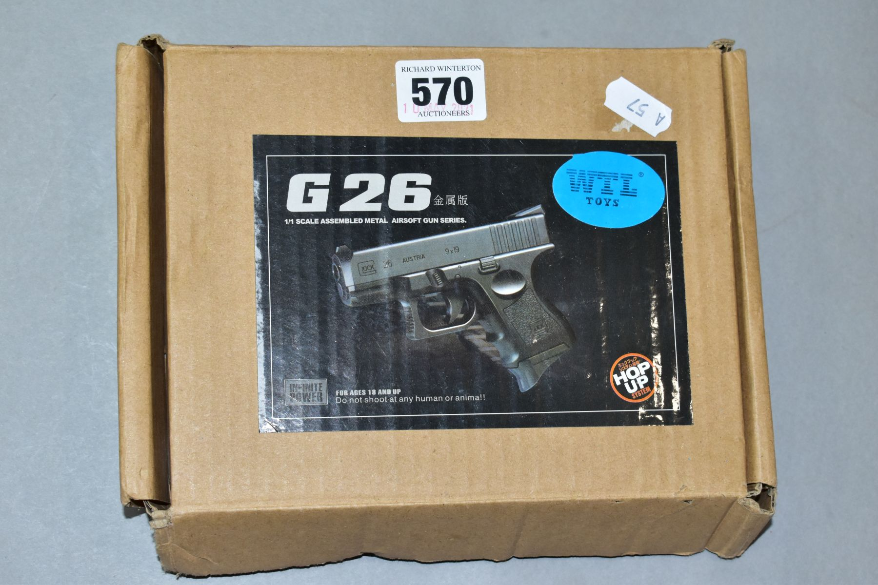 A BOXED G26 AIRSOFT GUN, blue, manufactured in China, with a small quantity of balls (PURCHASER MUST - Image 2 of 2
