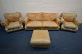 A BROWN LEATHER FOUR PIECE LOUNGE SUITE comprising a settee, width 200cm x seat width 159cm x