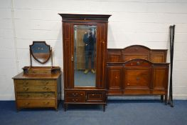 A MATCHED EDWARDIAN BEDROOM SUITE comprising of a mahogany and inlaid single door wardrobe, with a