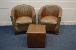 A PAIR OF BROWN LEATHER HALO LIVING TUB CHAIRS together with a cube pouffe (leather worn) (3)