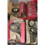 APPROXIMATELY TWENTY BOXED AND LOOSE GLASS LAMP LUSTRES, each with a circular metal frame with