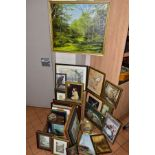 PAINTINGS AND PRINTS to include five oil landscapes, a watercolour of an Owl, pastel of a bird of