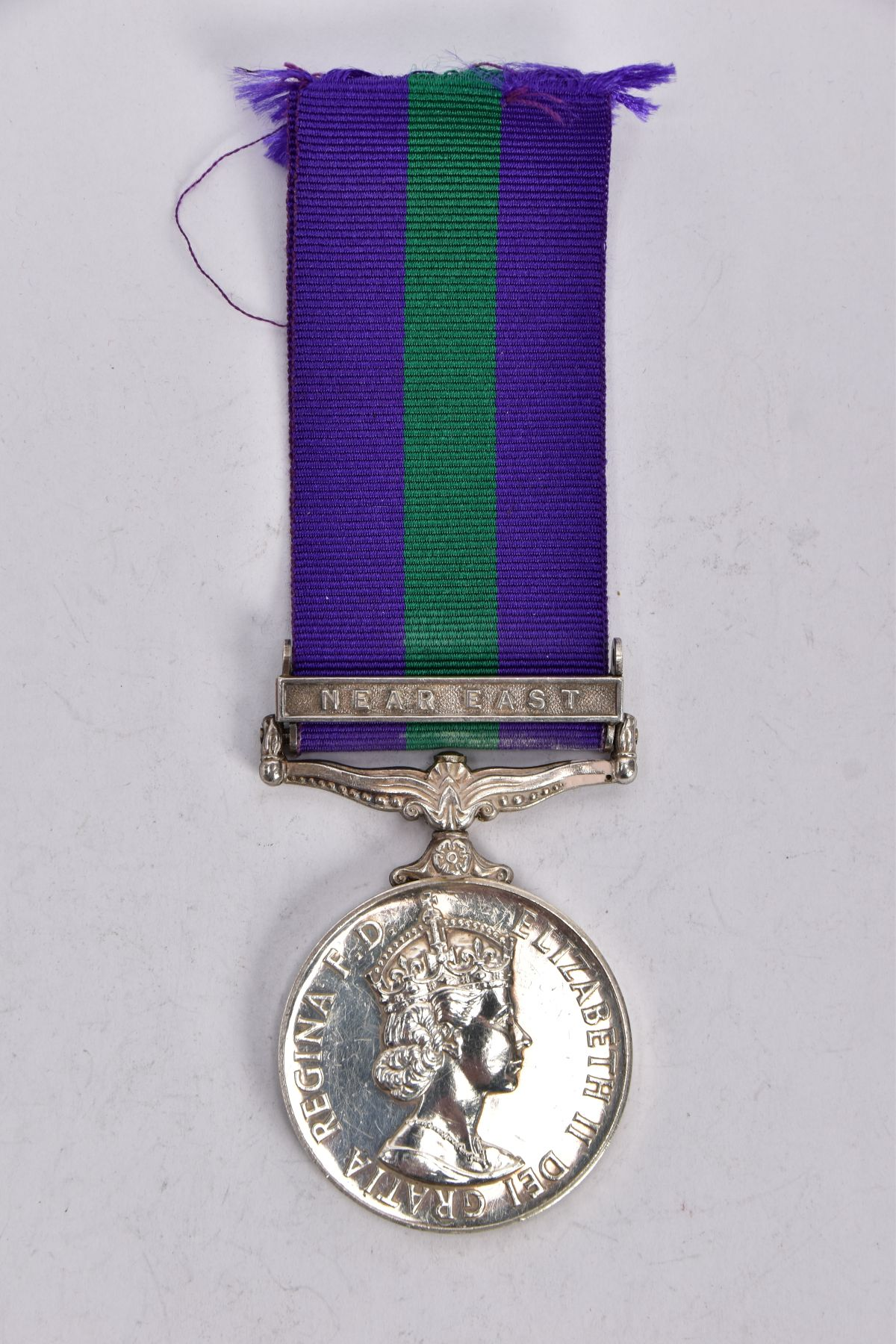 ERII GENERAL SERVICE MEDAL 1918-62 with near East bar named to 4173227 ACI EAG Macey RAF