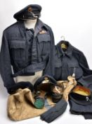 TWO RAF WWII BATTLE DRESS UNIFORM JACKETS, one with trousers, one jacket with VR shoulder tabs and