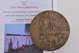 A WWII MEMORIAL DEATH PLAQUE NAMED JOHN HENRY BROWNING, Pte 22206 16th Btn (3rd Birmingham Pals)