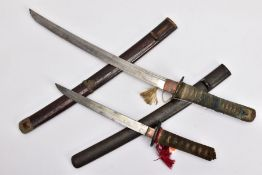 TWO JAPANESE WWII ERA SHORT SWORDS 'Gunto/Tanto' designs, blade length approximately 44cm, tang is