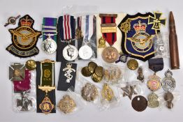 A BOX CONTAINING VARIOUS COPIES OF MILITARY RELATED MEDALS to include Military Medal Geo VI, GSM 2