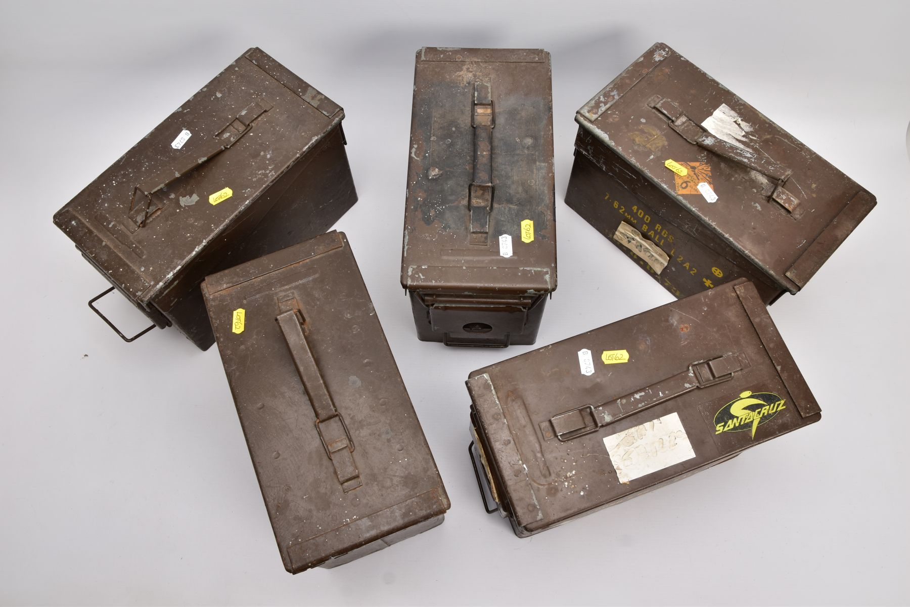 FIVE METAL MILITARY AMMUNITION BOXES WWII and later era, two of them being marked 5.56mm and 7.62mm, - Image 3 of 3
