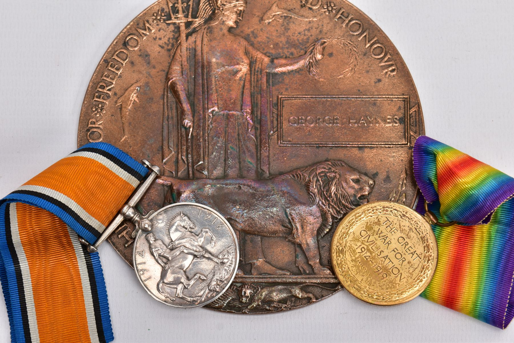A WWI MEMORIAL DEATH PLAQUE named George Haynes, together with a British War and Victory medal named - Image 3 of 4