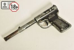 A .177'' GAT TYPE AIR PISTOL marked Briton, it's japanned surfaces have lost a considerable amount