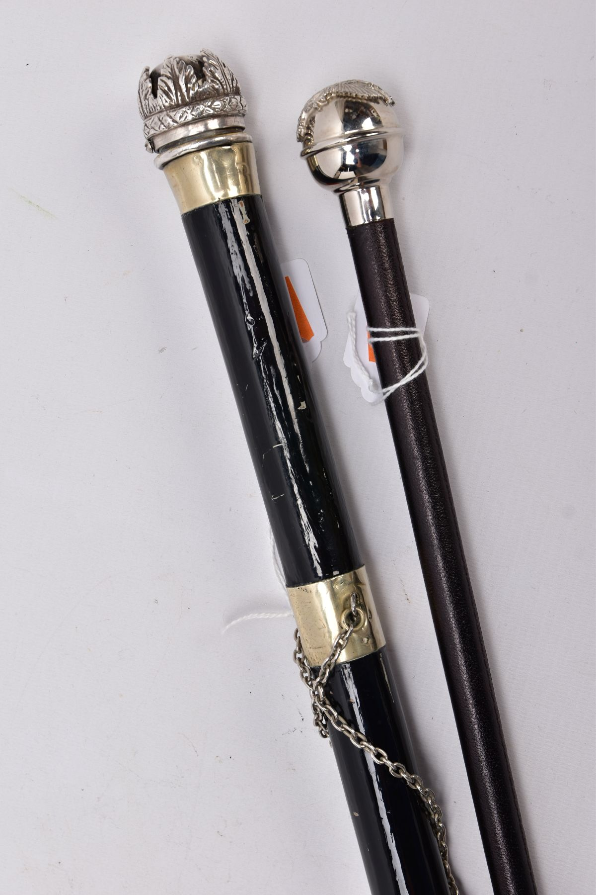 TWO MILITARY RELATED SWAGGER STYLE STICKS, to include a white metal sphere topped with white metal - Image 2 of 9