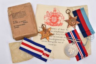 A BOXED GROUP OF WWII MEDALS AS FOLLOWS, 1939-45 France and Germany Stars and War Medal, all mint