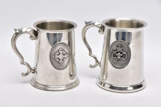 TWO PEWTER TANKARDS AS FOLLOWS: (A) Birmingham Pewter Company, solid base with the Staffordshire