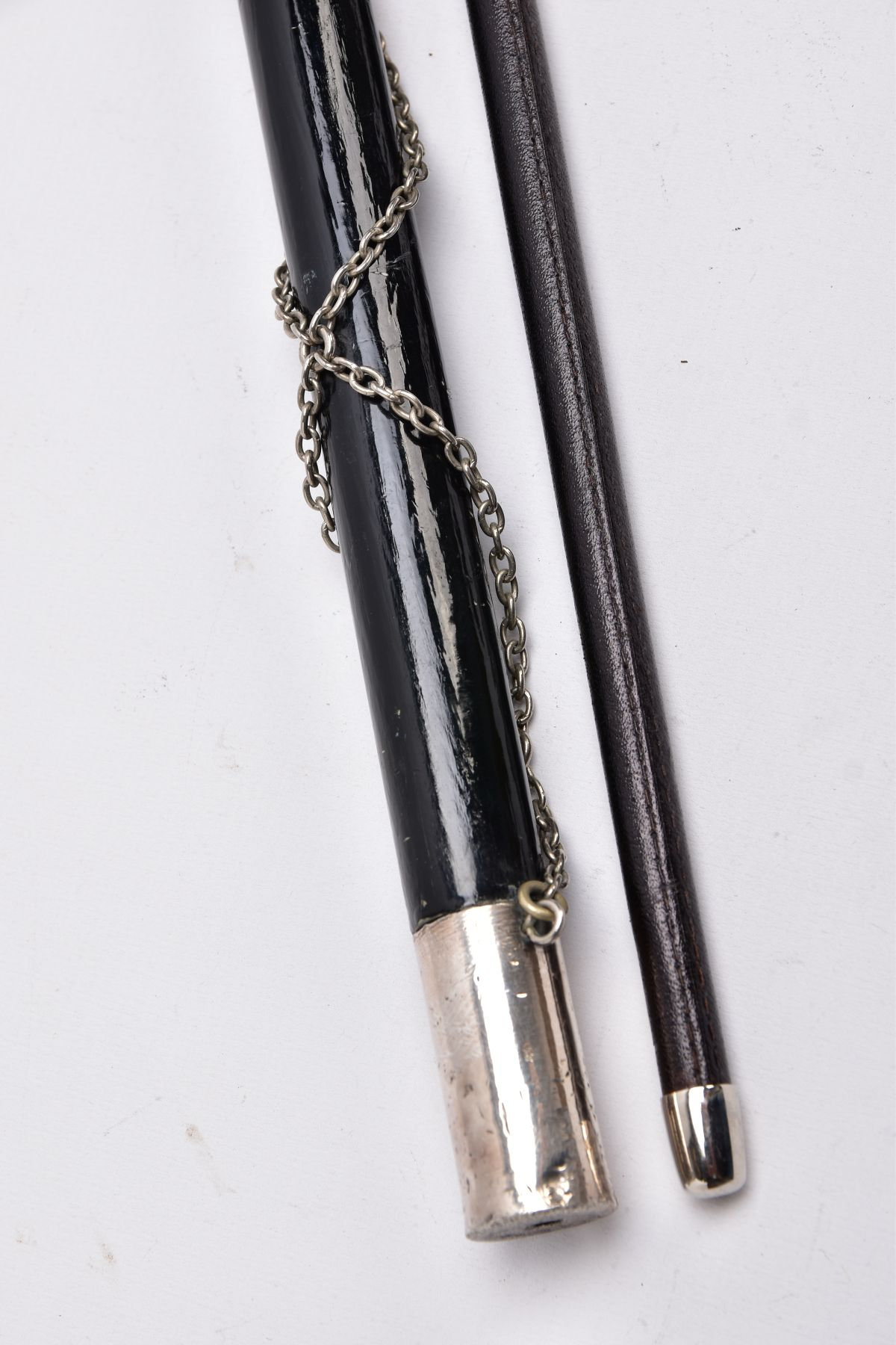 TWO MILITARY RELATED SWAGGER STYLE STICKS, to include a white metal sphere topped with white metal - Image 3 of 9