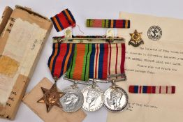 AN OFFICIAL BOXED GROUP OF WWII/GENERAL SERVICE MEDALS to include Burma Star, Defence & War medal (
